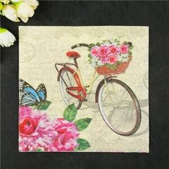 New 20 napkins vintage paper white golden tissue printed flower bicycle decoupage hotel coffee wedding party decorative dinner