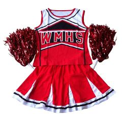 Hot Sale Tank top Petticoat Pom cheerleader 2 piece suit new red costume S-L